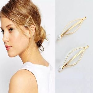 ADORABLE GOLD PLATED PEARL HAIR CLIPS